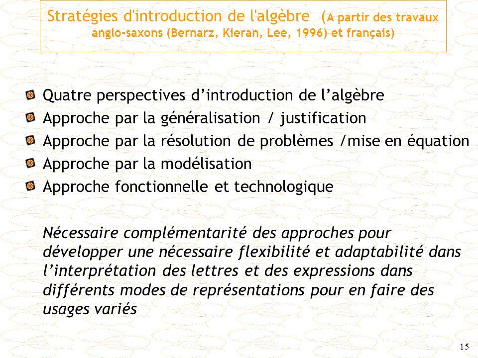 Stratégies d introduction de l algèbre (A partir des travaux anglo-saxons (Bernarz, Kieran, Lee, 1996) et français)