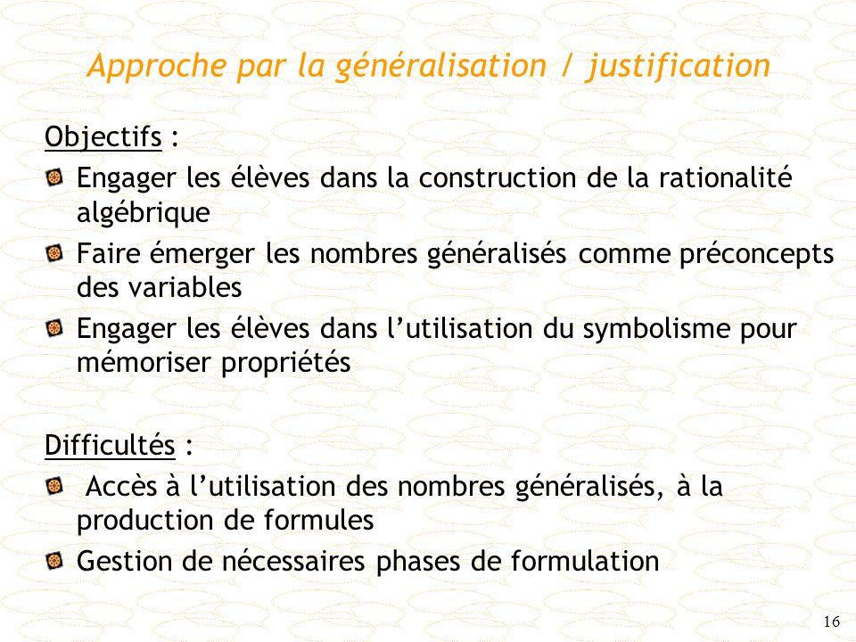 Approche par la généralisation / justification