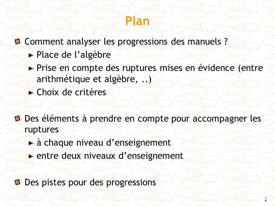 Plan Comment analyser les progressions des manuels