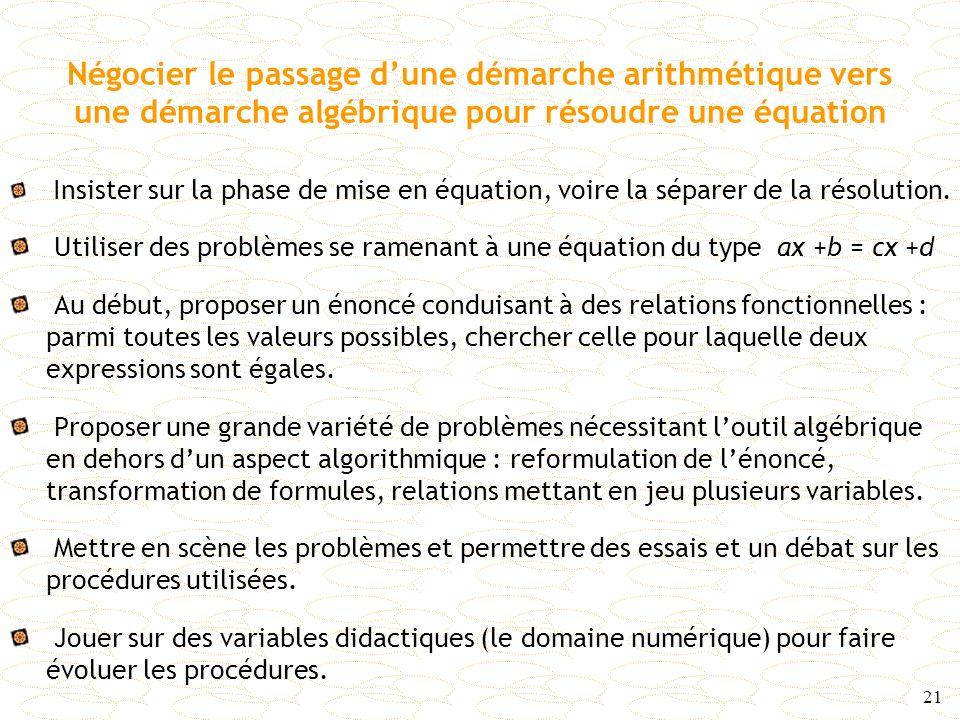 Négocier le passage d'une démarche arithmétique vers une démarche algébrique pour résoudre une équation