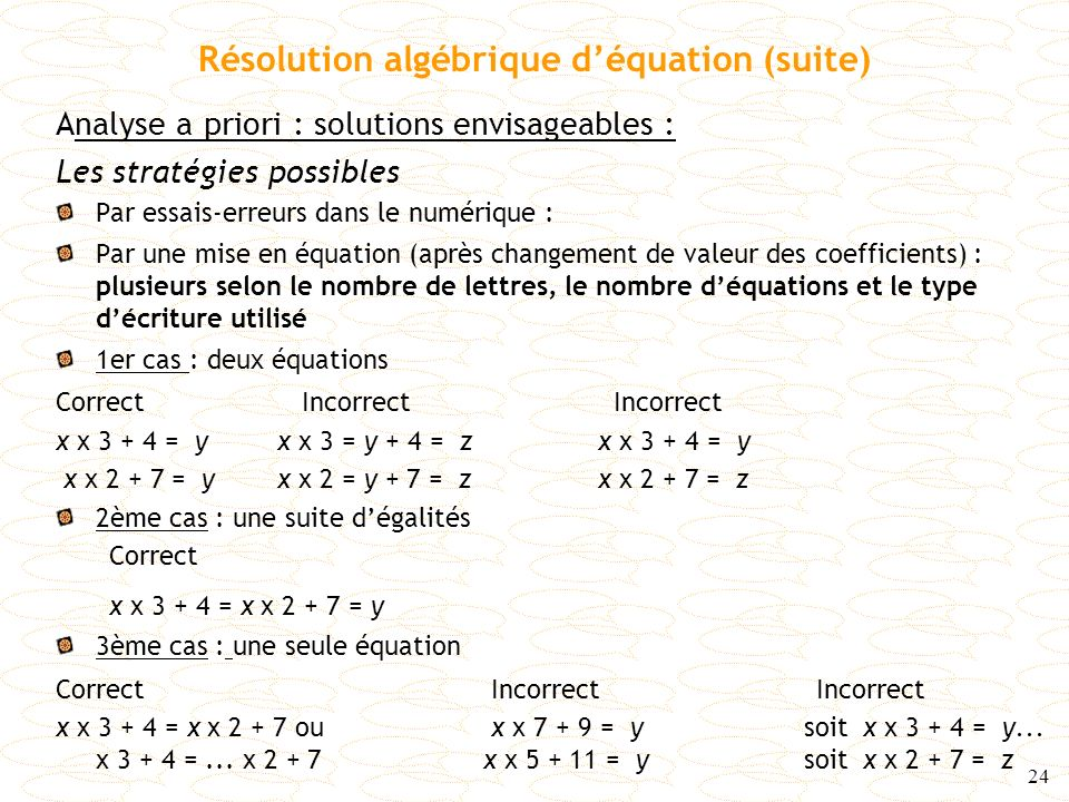 Résolution algébrique d'équation (suite)