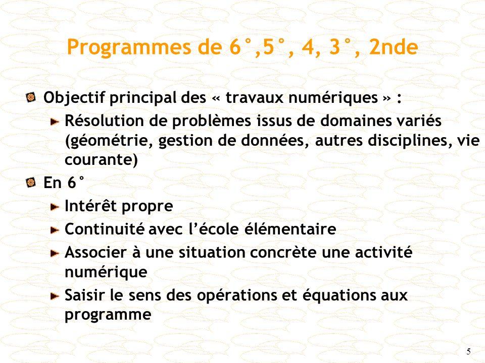 Programmes de 6°,5°, 4, 3°, 2nde Objectif principal des « travaux numériques » :