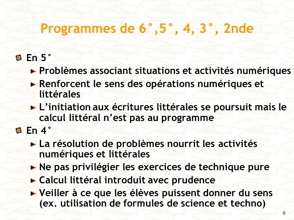 Programmes de 6°,5°, 4, 3°, 2nde En 5°