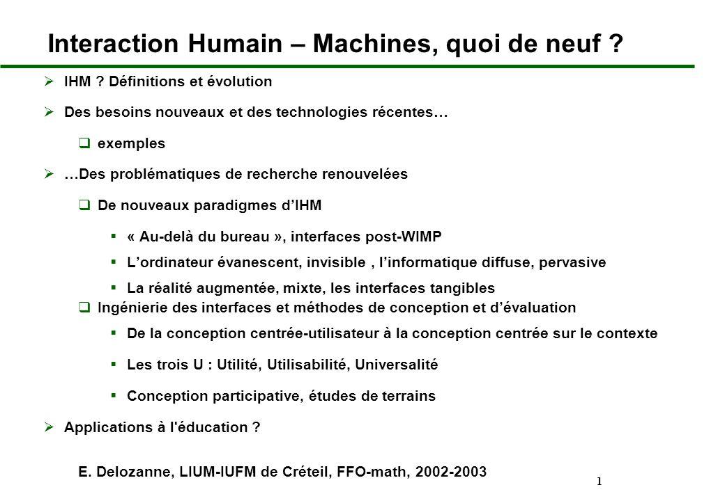 Interaction Humain – Machines, quoi de neuf