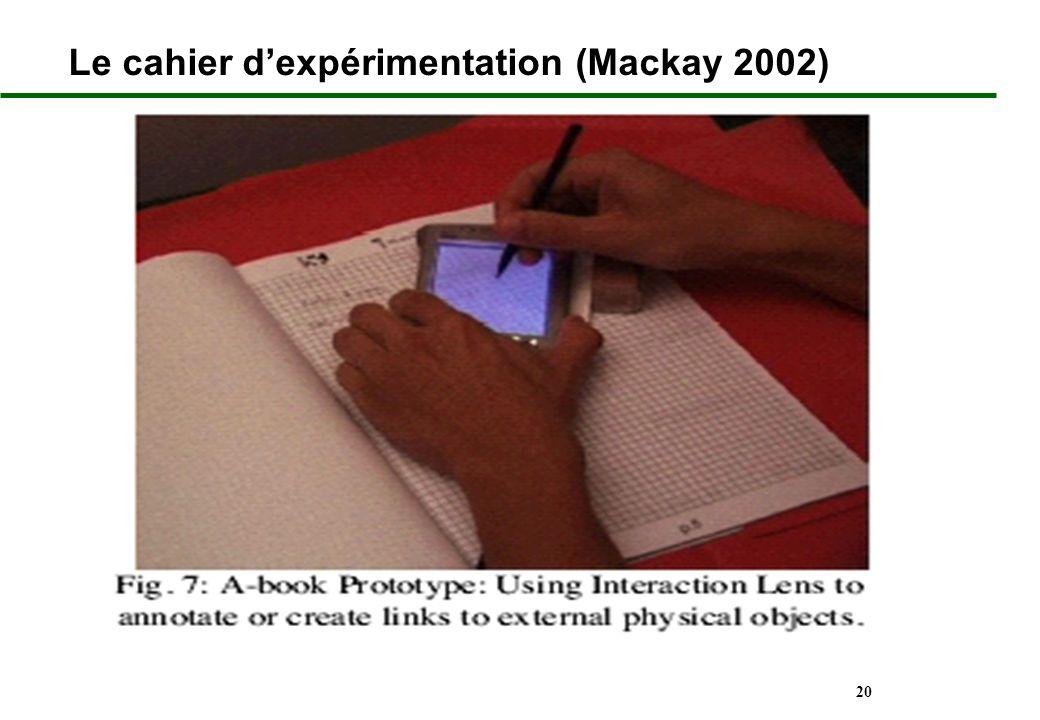 Le cahier d'expérimentation (Mackay 2002)