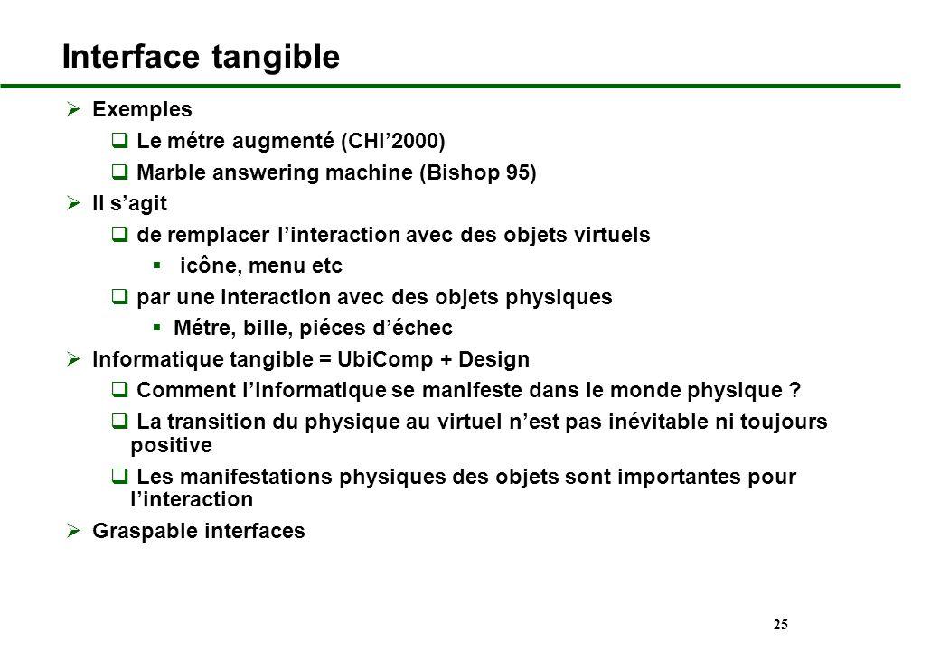 Interface tangible Exemples Le métre augmenté (CHI'2000)