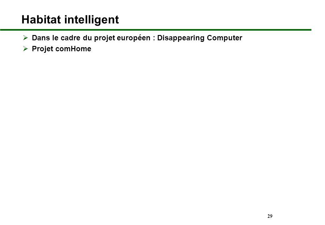 Habitat intelligent Dans le cadre du projet européen : Disappearing Computer. Projet comHome. Video CHI.