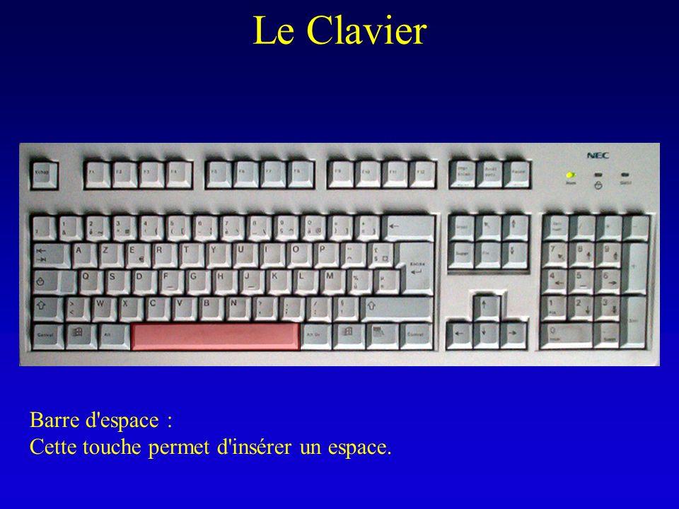 Le Clavier Barre d espace : Cette touche permet d insérer un espace.
