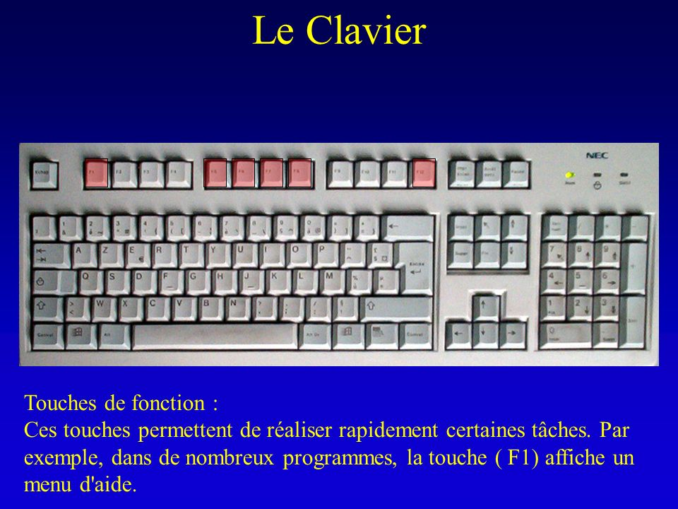 Le Clavier Touches de fonction :