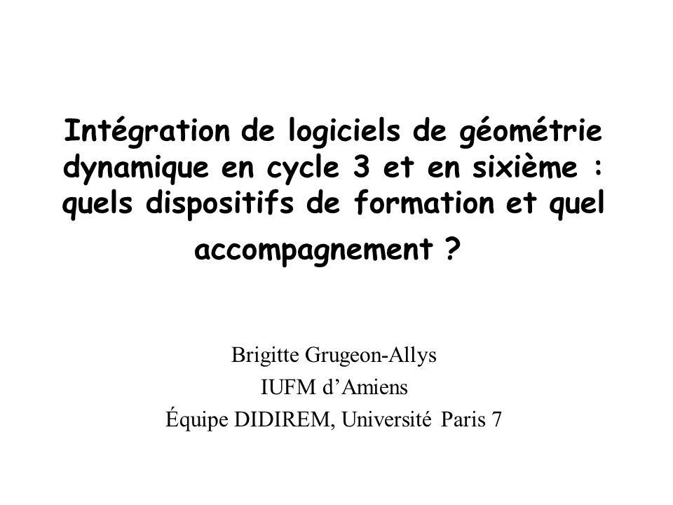 Intégration de logiciels de géométrie dynamique en cycle 3 et en sixième : quels dispositifs de formation et quel accompagnement