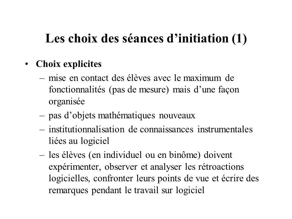 Les choix des séances d'initiation (1)
