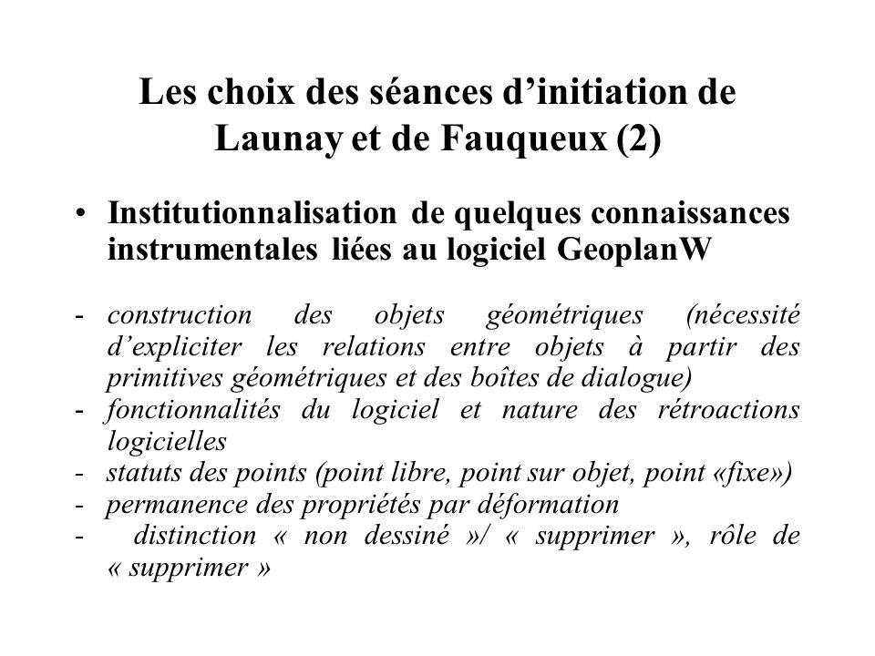 Les choix des séances d'initiation de Launay et de Fauqueux (2)