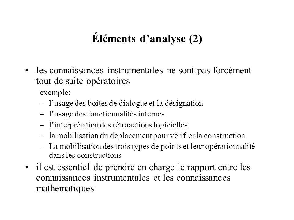 Éléments d'analyse (2) les connaissances instrumentales ne sont pas forcément tout de suite opératoires.