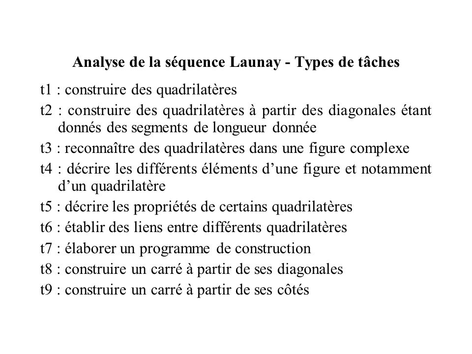 Analyse de la séquence Launay - Types de tâches