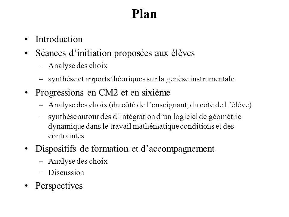 Plan Introduction Séances d'initiation proposées aux élèves
