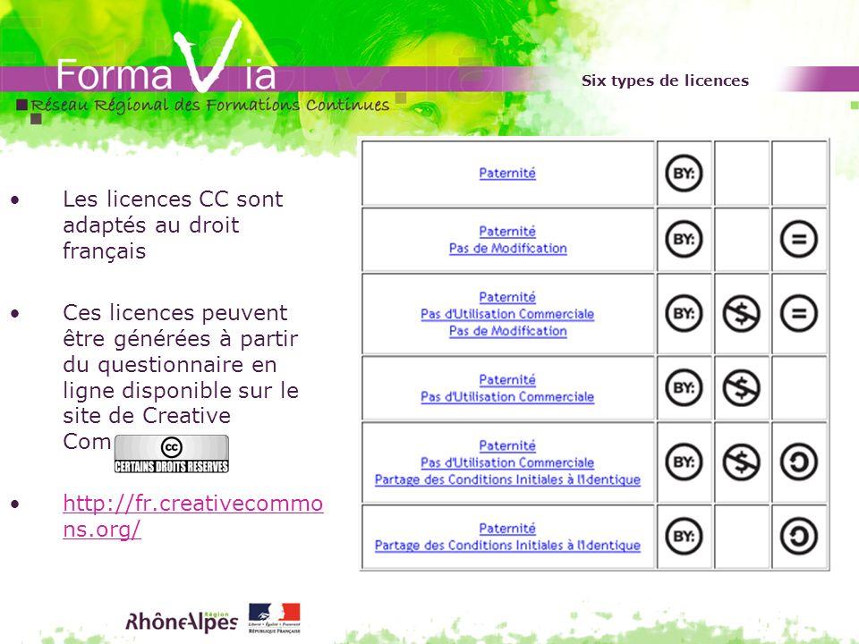 Les licences CC sont adaptés au droit français