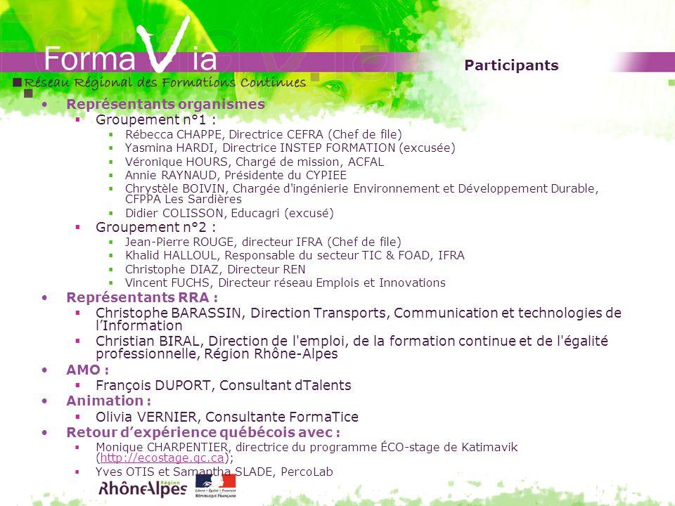 Participants Représentants organismes Groupement n°1 :