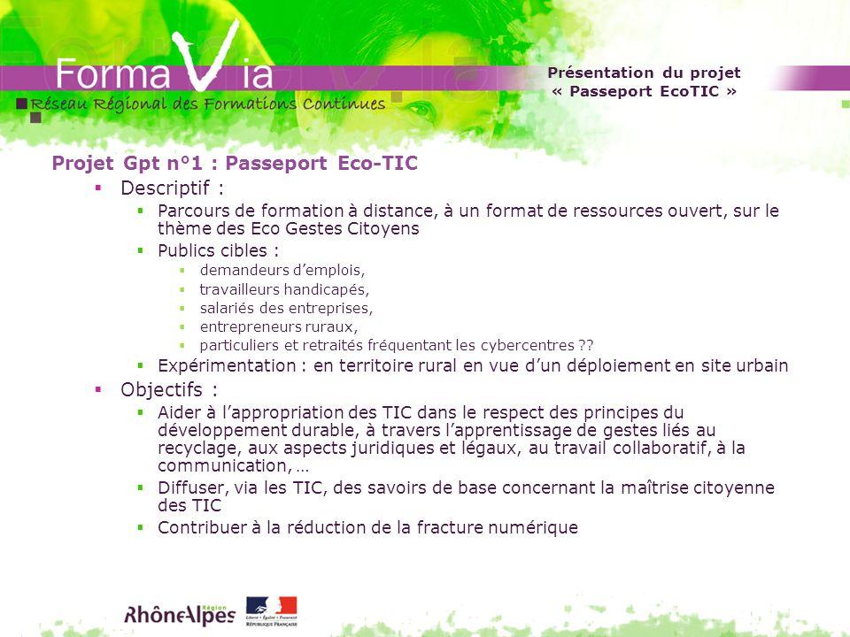 Présentation du projet « Passeport EcoTIC »