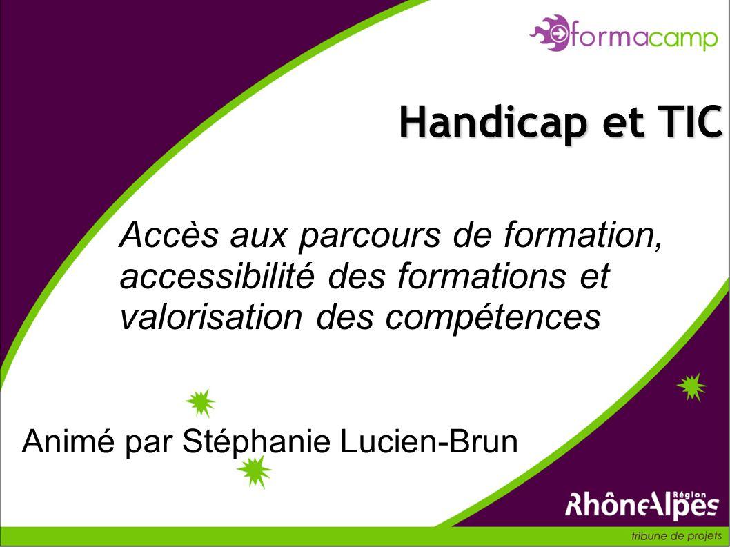 Handicap et TIC Accès aux parcours de formation, accessibilité des formations et valorisation des compétences.