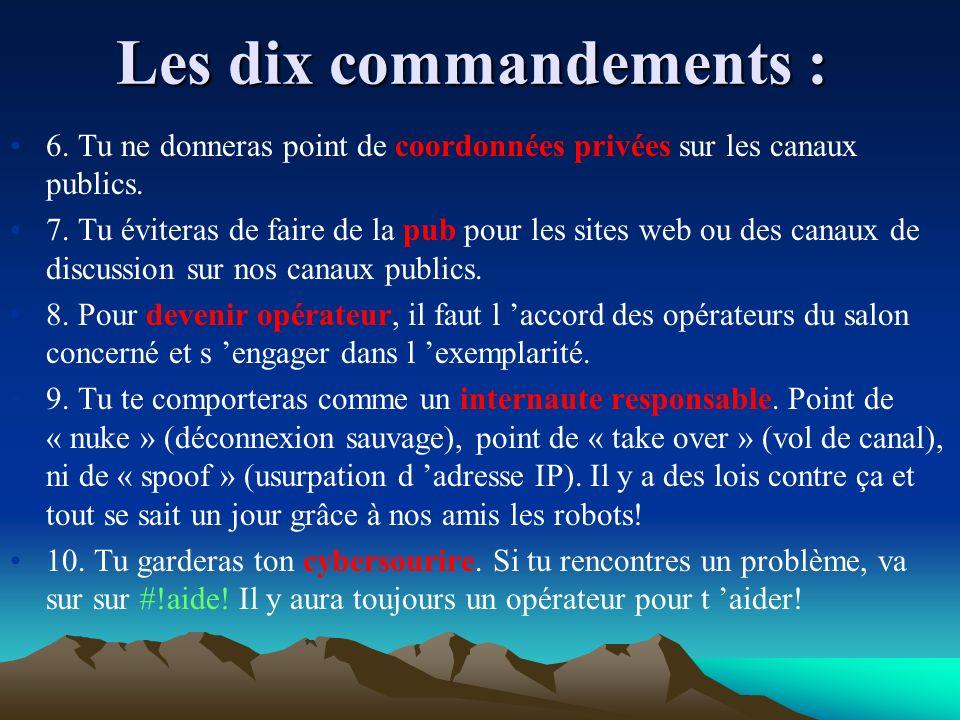 Les dix commandements :