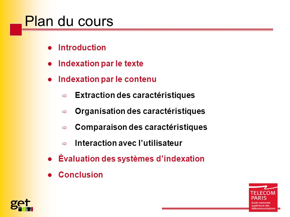 Plan du cours Introduction Indexation par le texte