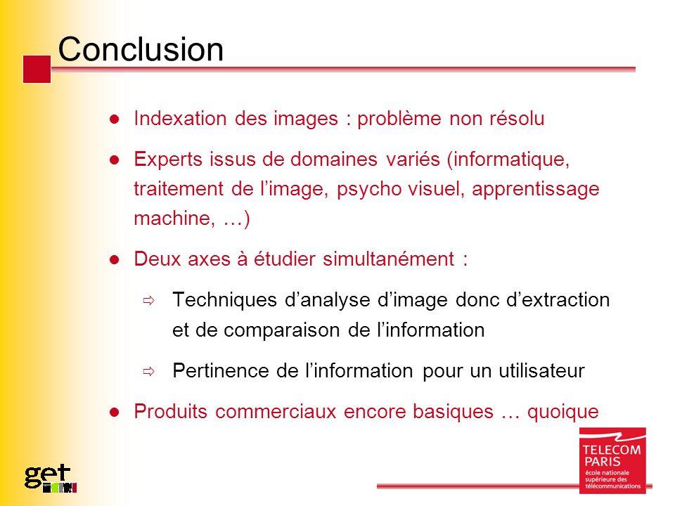 Conclusion Indexation des images : problème non résolu