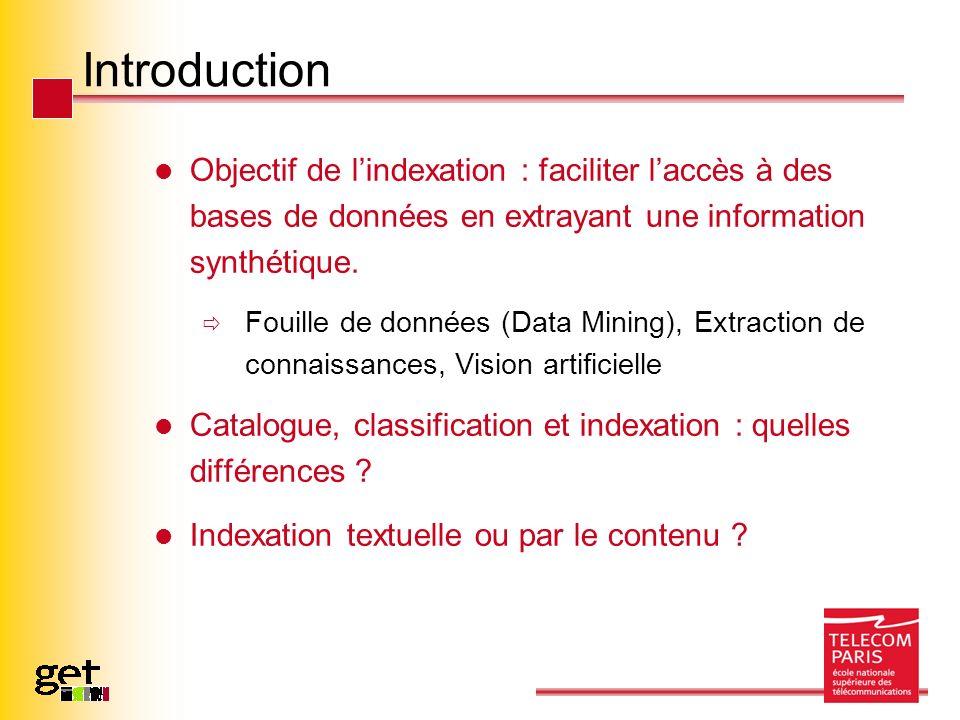 Introduction Objectif de l'indexation : faciliter l'accès à des bases de données en extrayant une information synthétique.