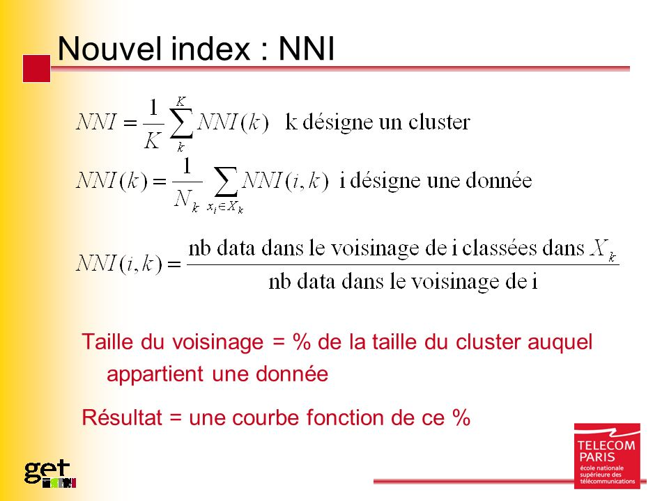 Nouvel index : NNI Taille du voisinage = % de la taille du cluster auquel appartient une donnée.