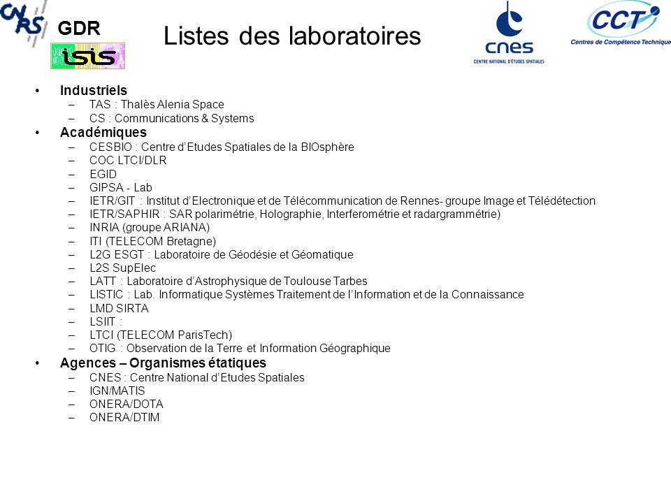 Listes des laboratoires