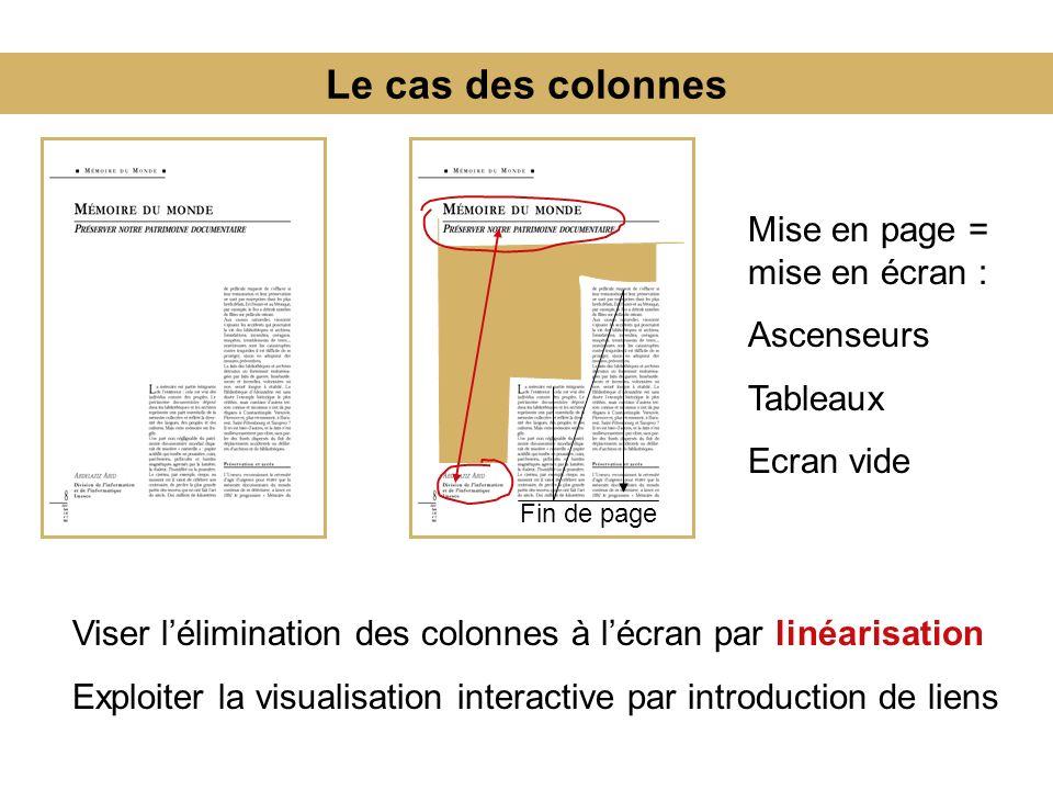 Le cas des colonnes Mise en page = mise en écran : Ascenseurs Tableaux