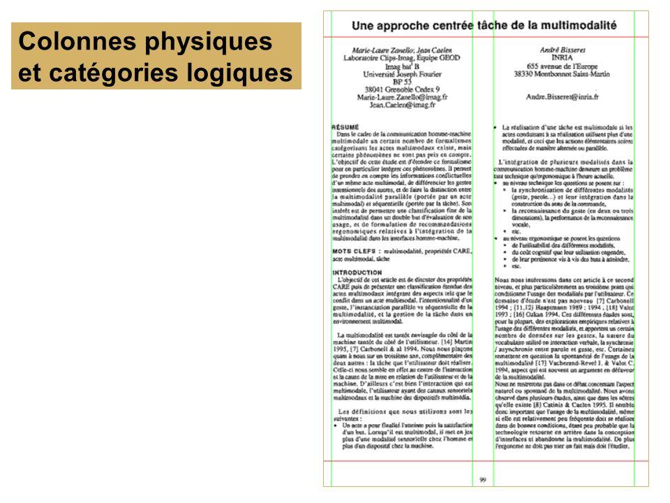 Colonnes physiques et catégories logiques