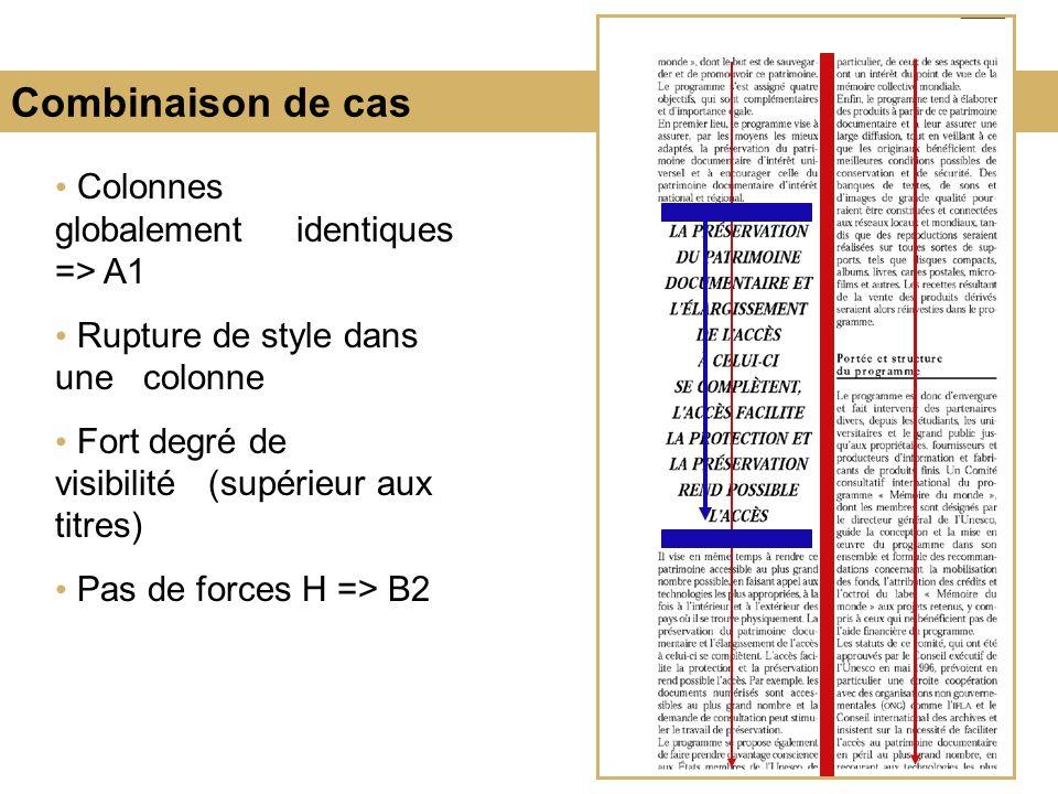 Combinaison de cas Colonnes globalement identiques => A1