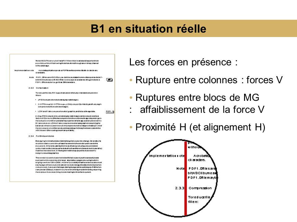 B1 en situation réelle Les forces en présence :