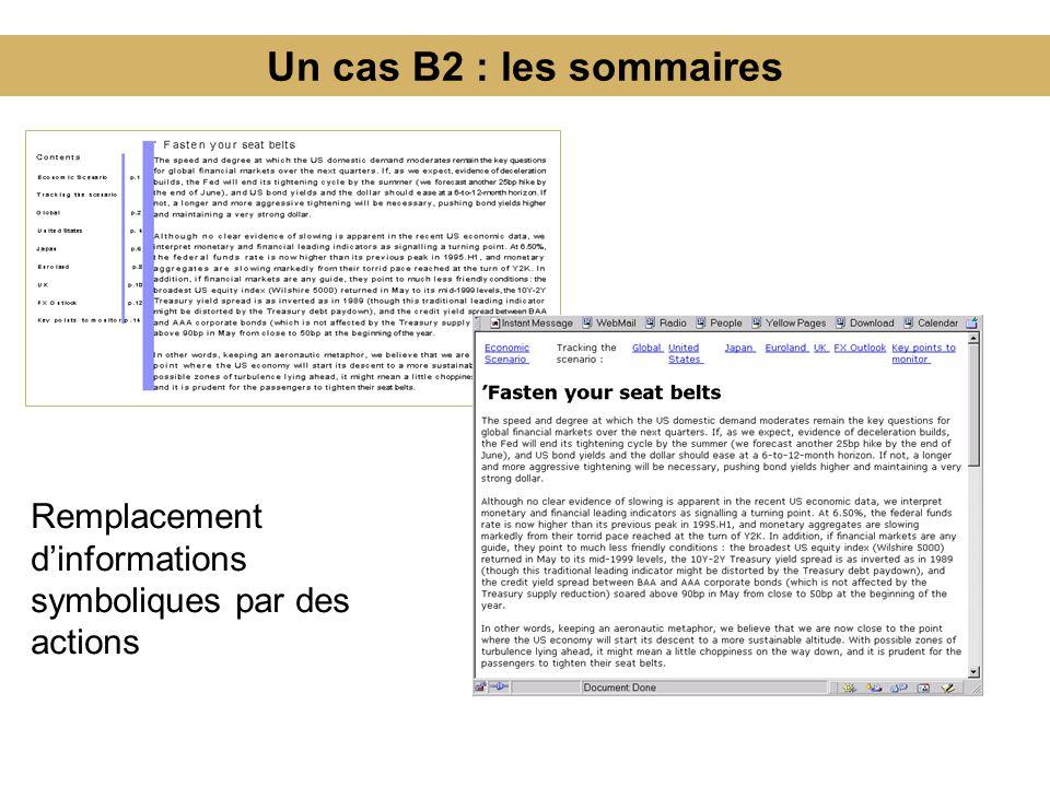 Un cas B2 : les sommaires Remplacement d'informations symboliques par des actions