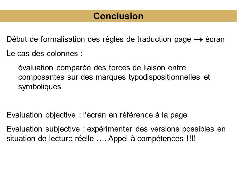 Conclusion Début de formalisation des règles de traduction page  écran. Le cas des colonnes :