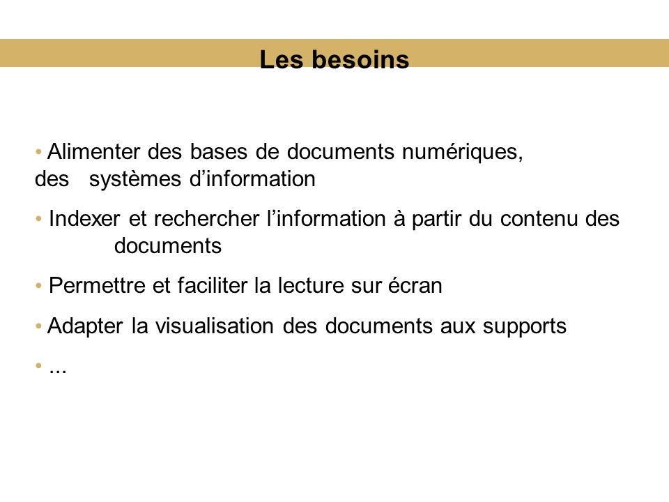 Les besoins Alimenter des bases de documents numériques, des systèmes d'information.