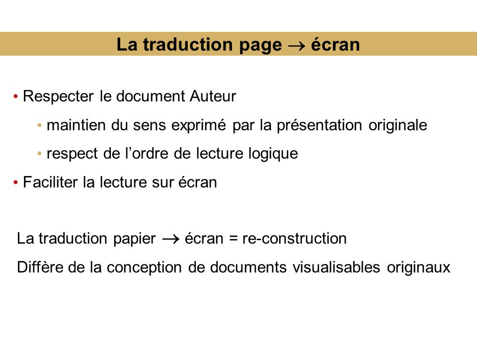 La traduction page  écran