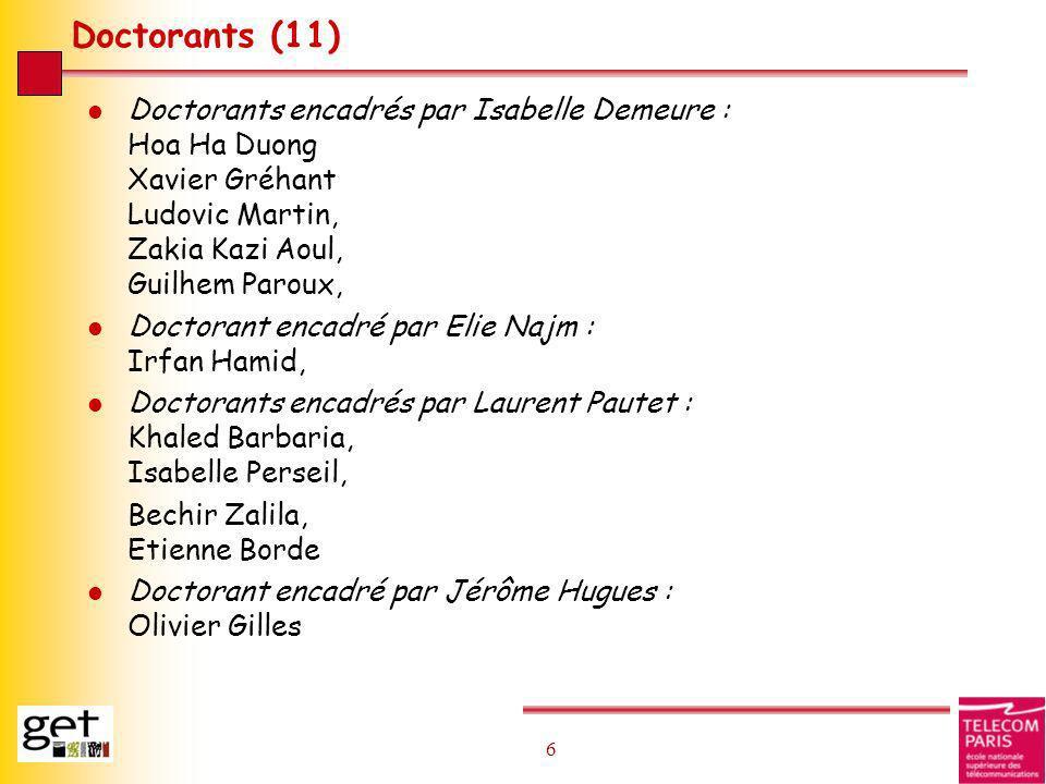 Doctorants (11) Doctorants encadrés par Isabelle Demeure : Hoa Ha Duong Xavier Gréhant Ludovic Martin, Zakia Kazi Aoul, Guilhem Paroux,