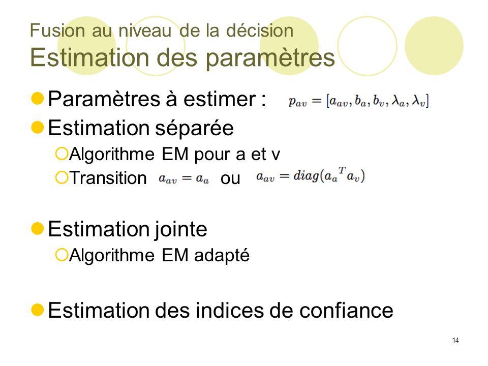 Fusion au niveau de la décision Estimation des paramètres