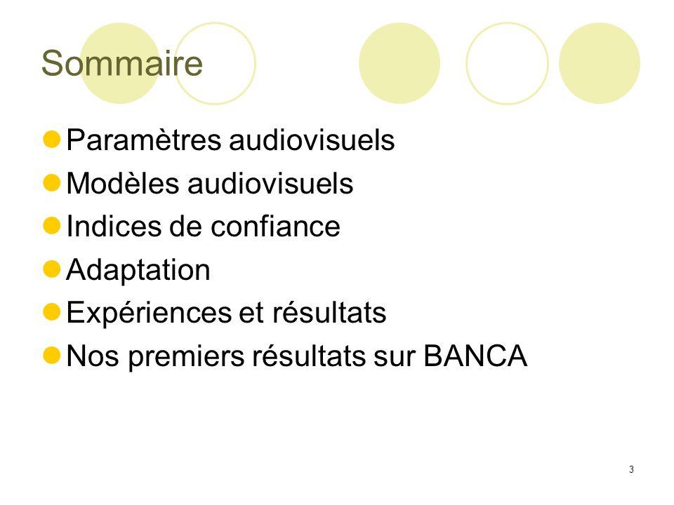 Sommaire Paramètres audiovisuels Modèles audiovisuels