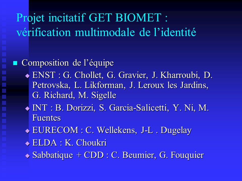 Projet incitatif GET BIOMET : vérification multimodale de l'identité