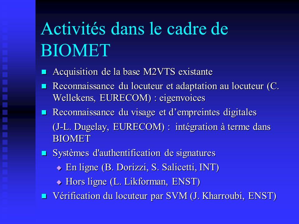 Activités dans le cadre de BIOMET
