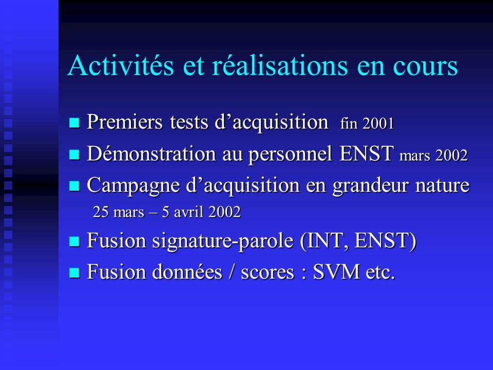 Activités et réalisations en cours