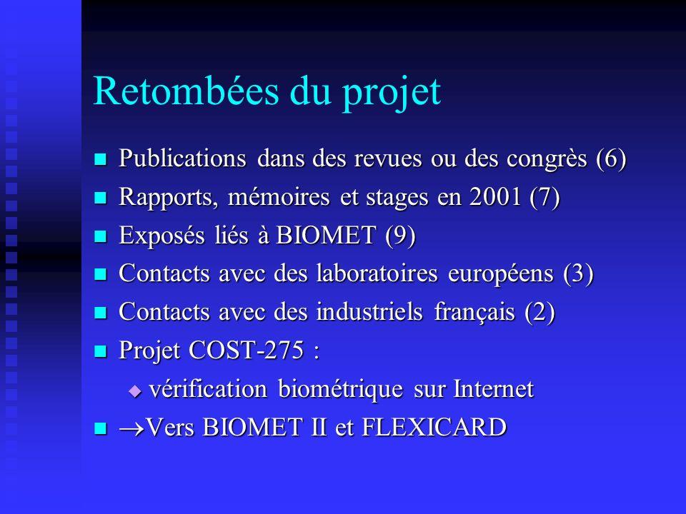 Retombées du projet Publications dans des revues ou des congrès (6)
