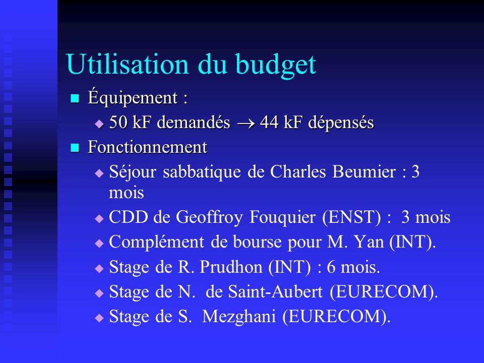 Utilisation du budget Équipement : 50 kF demandés  44 kF dépensés