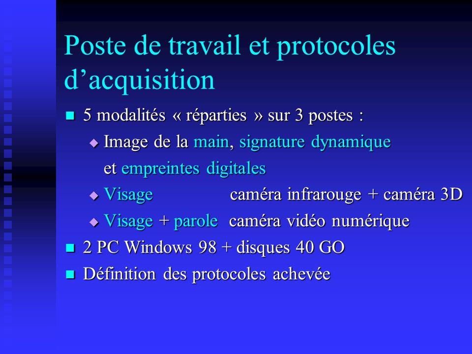 Poste de travail et protocoles d'acquisition