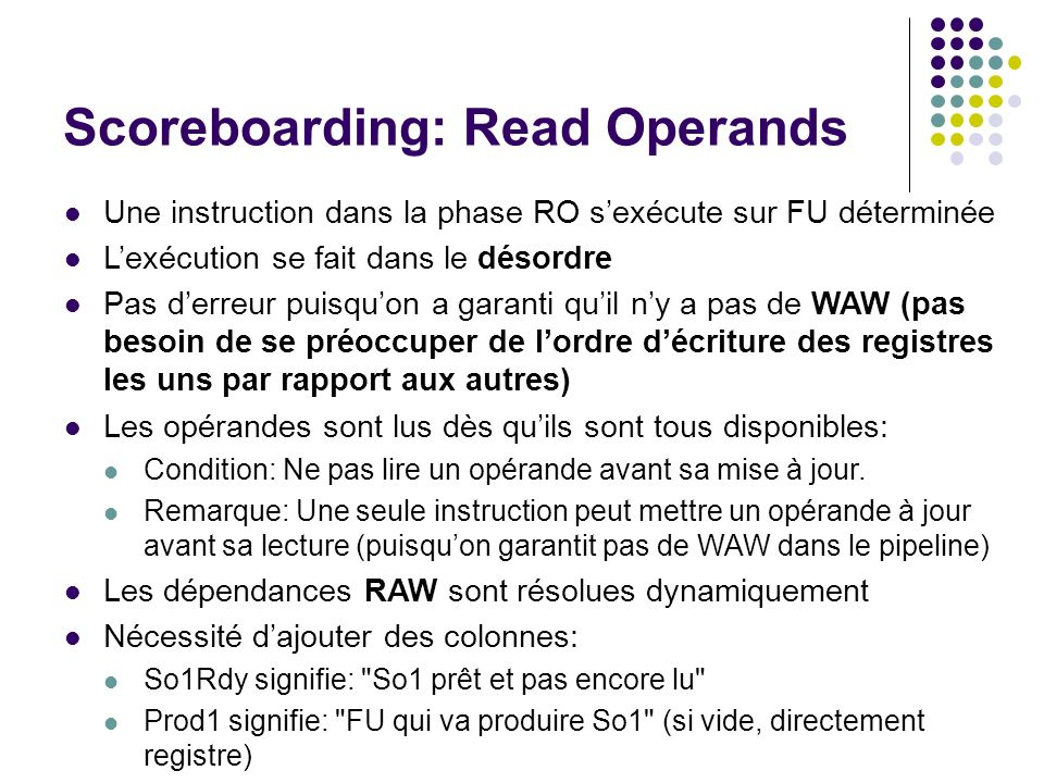 Scoreboarding: Read Operands