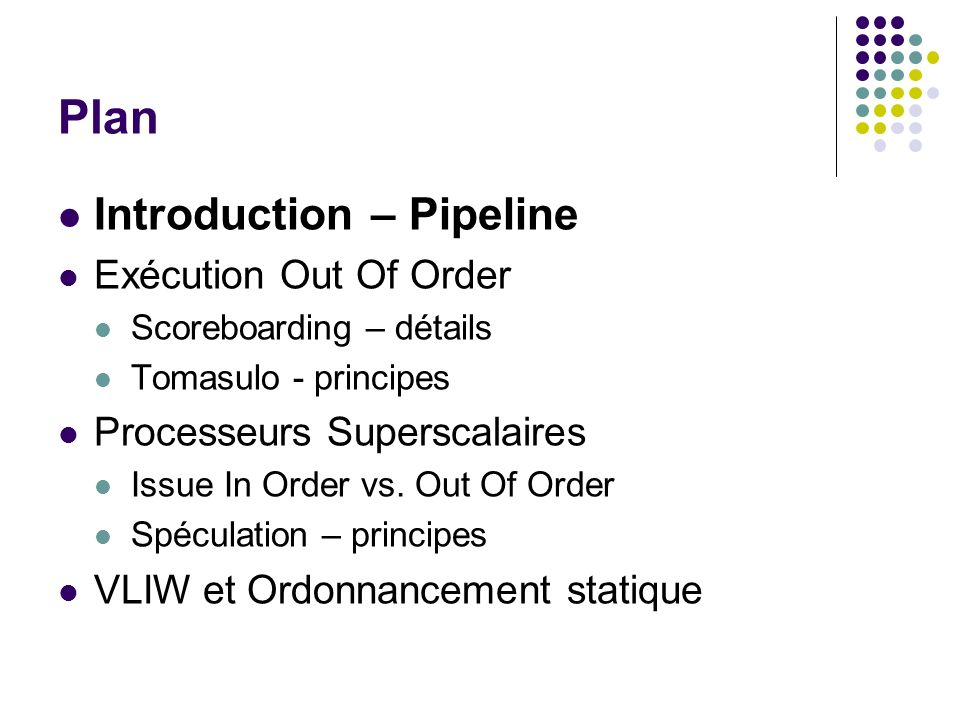Plan Introduction – Pipeline Exécution Out Of Order
