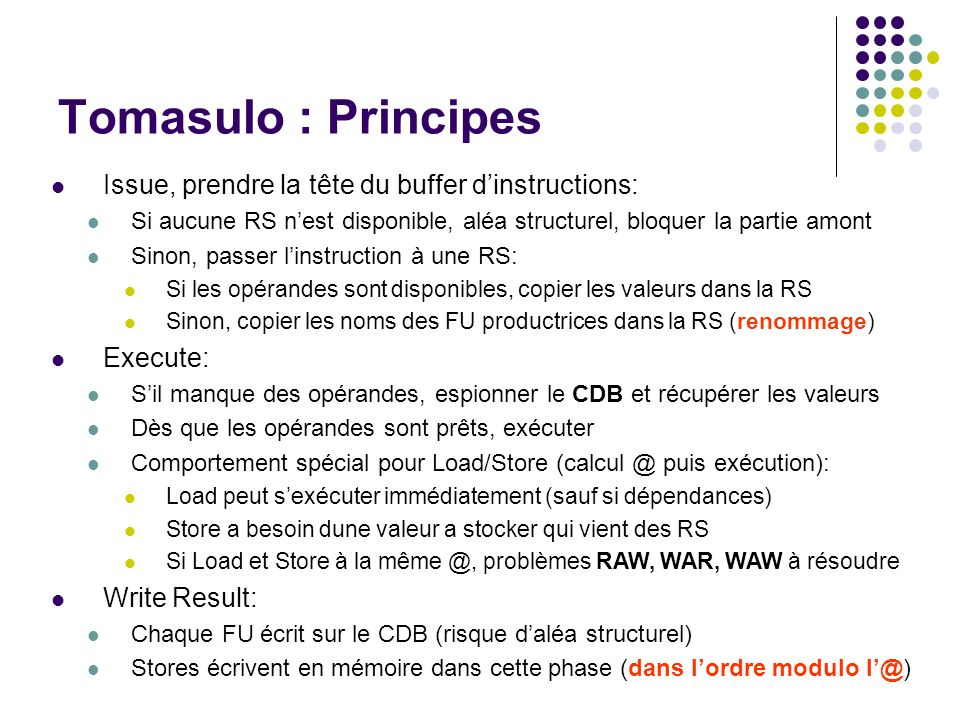 Tomasulo : Principes Issue, prendre la tête du buffer d'instructions: