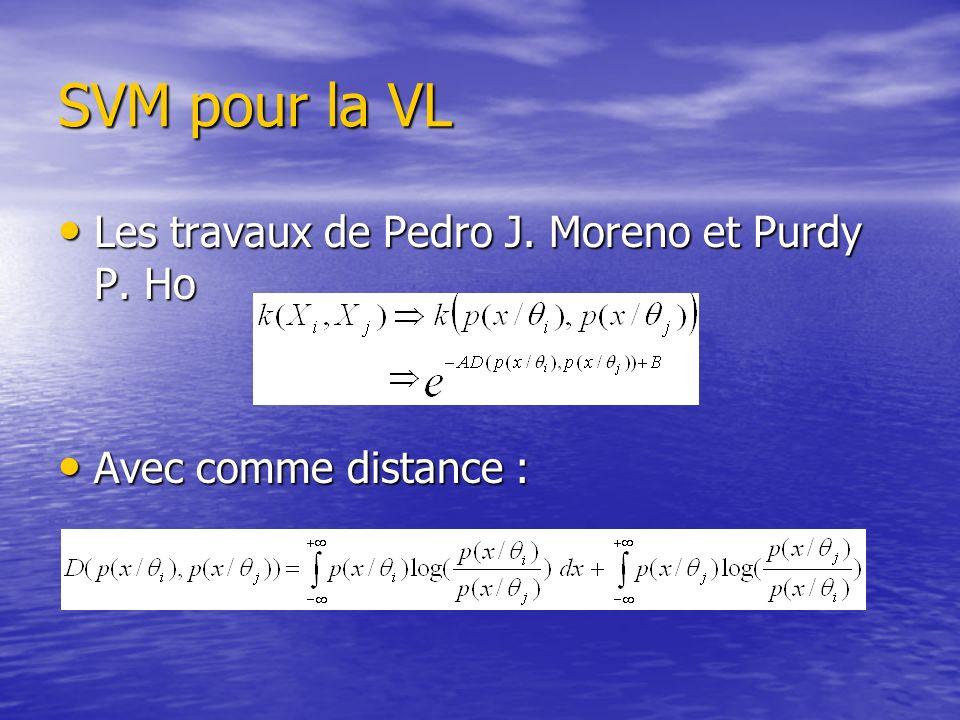 SVM pour la VL Les travaux de Pedro J. Moreno et Purdy P. Ho